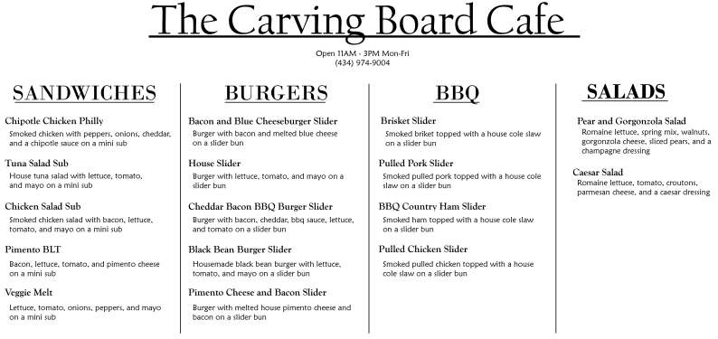 The Carving Board Online Menu cropped
